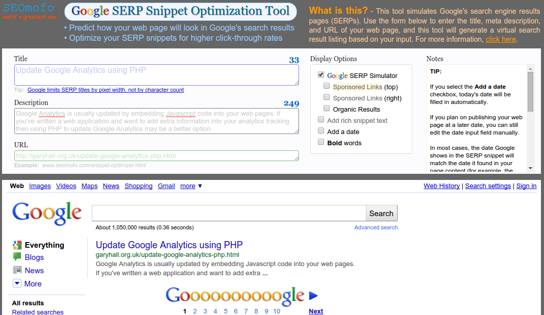 Preview your site in Google search results